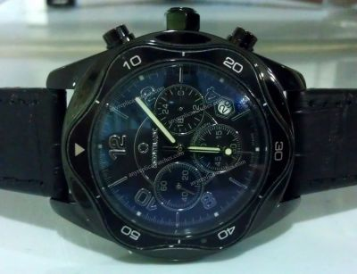 Black MONTBLANC Chronograph Watch Black Leather Strap
